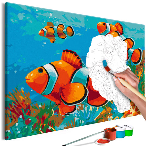 DIY glezna uz audekla - Gold Fishes 60x40 cm