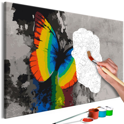 DIY glezna uz audekla - Colourful Butterfly 60x40 cm