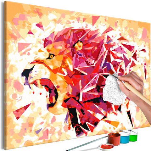 DIY glezna uz audekla - Abstract Lion (60x40 cm)