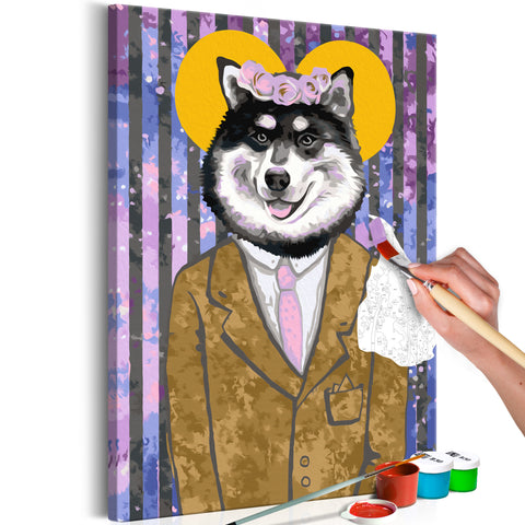 DIY glezna uz audekla - Dog in Suit 40x60 cm