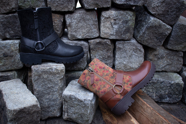 Charlette boot styles in perfect Fall colors, featured in Goth You're Cool and Cognac & Roses