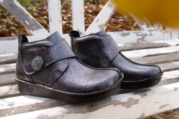 Alegria Caiti Graphite booties, metallic printed leather on mini outsole.