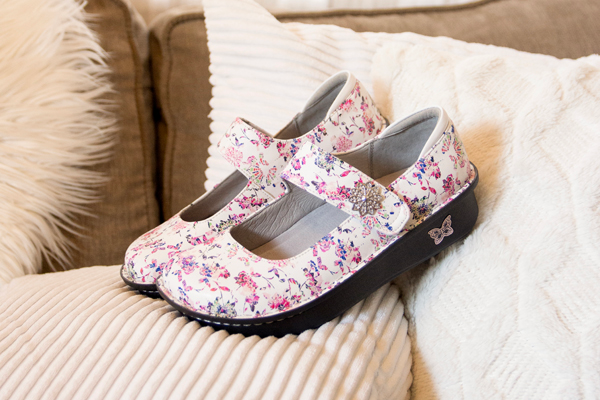 Paloma printed Purple Haze mary jane on slip resistant classic rocker outsole