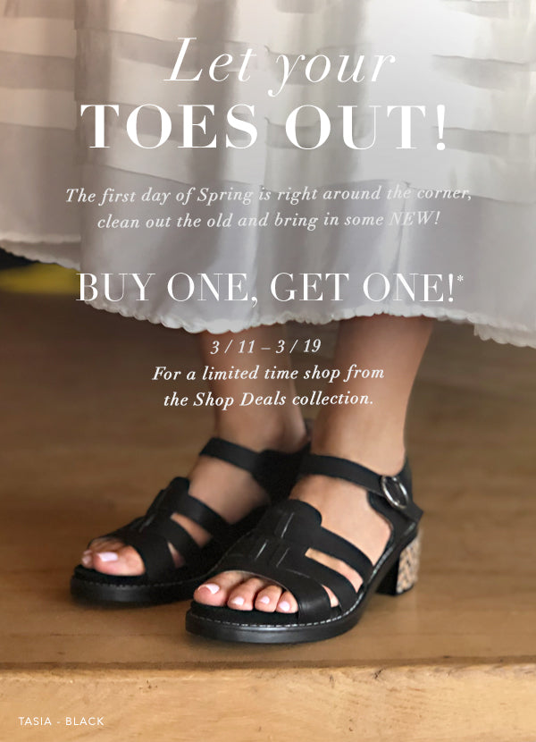 Buy One Get One Sandal offer, expires 3/19/21