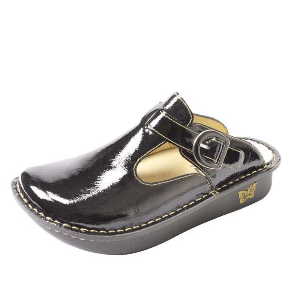 Classic Black Patent Clog - Alegria Shoes