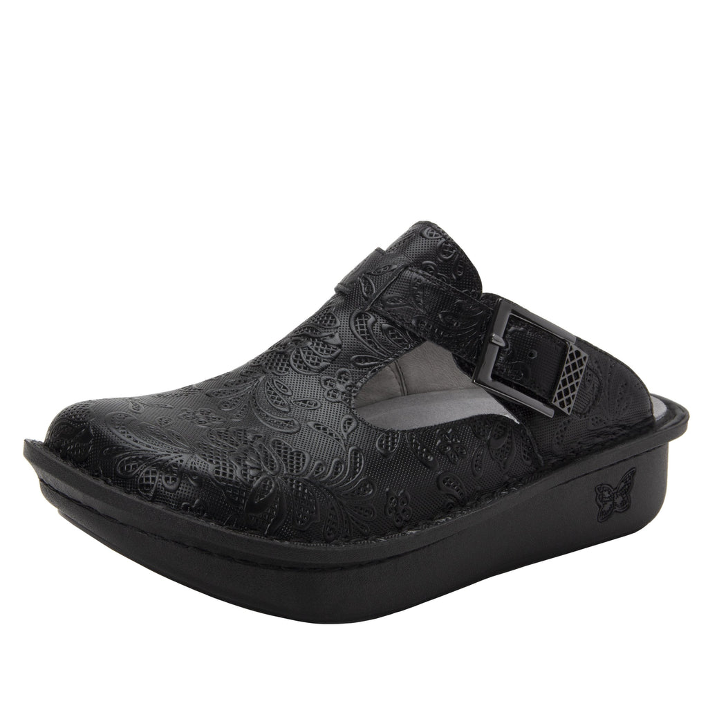 Classic Hello Doily open back clog on classic rocker outsole - ALG-163_S1