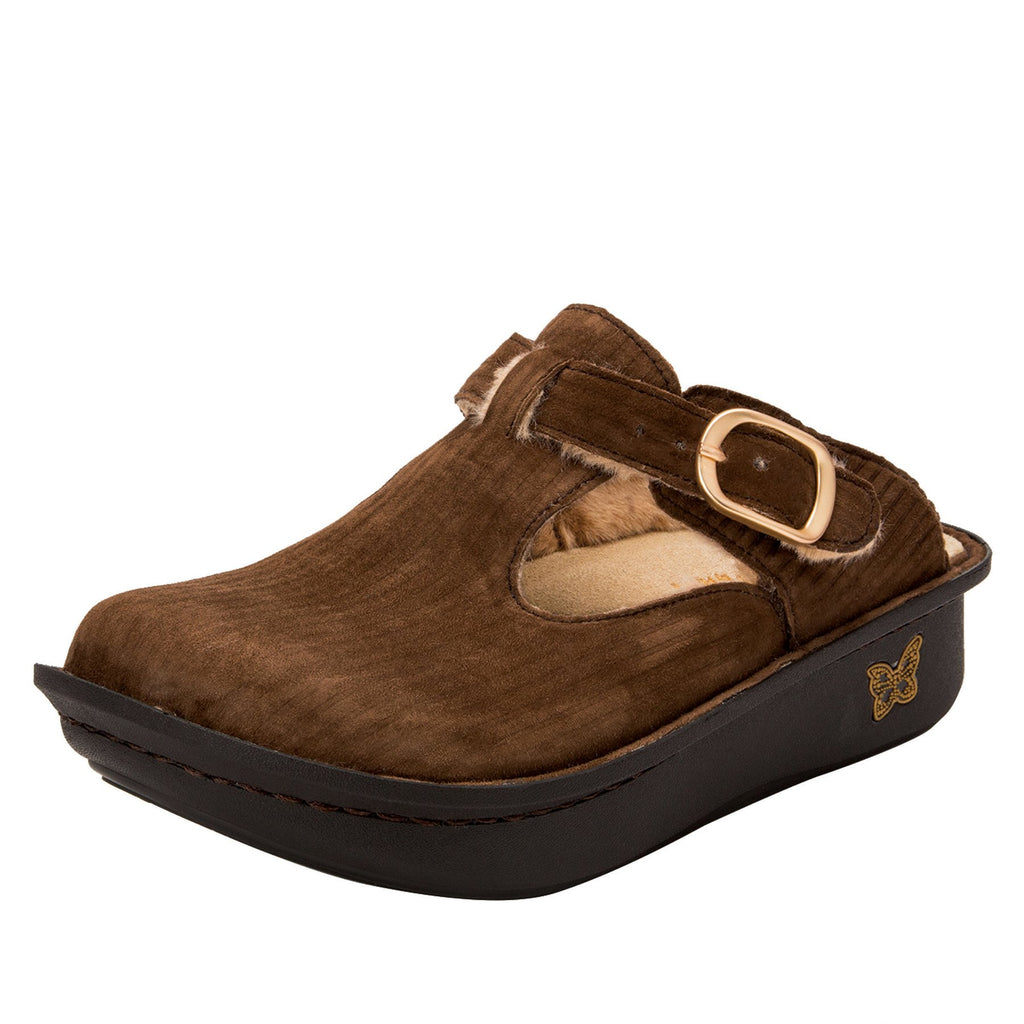 Classic Capt Corduroy Brown open back clog on classic rocker outsole - ALG-196_S1