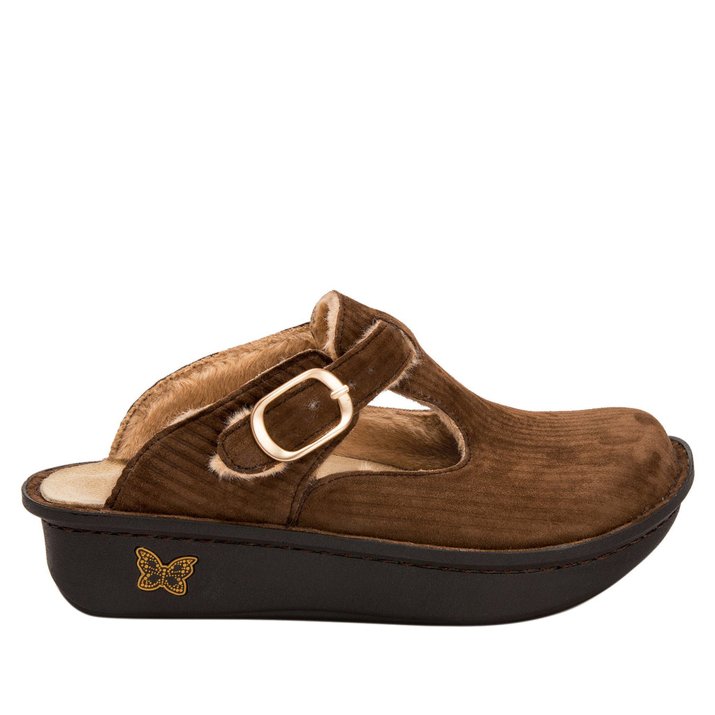 Classic Capt Corduroy Brown open back clog on classic rocker outsole - ALG-196_S2