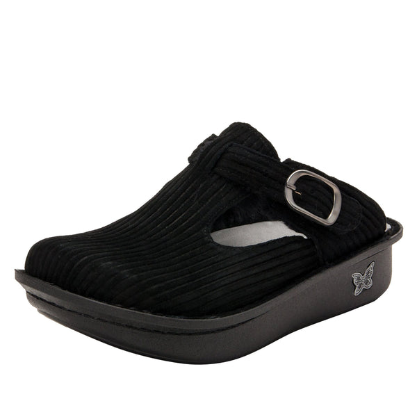 Classic Capt Corduroy Black open back clog on classic rocker outsole - ALG-197_S1