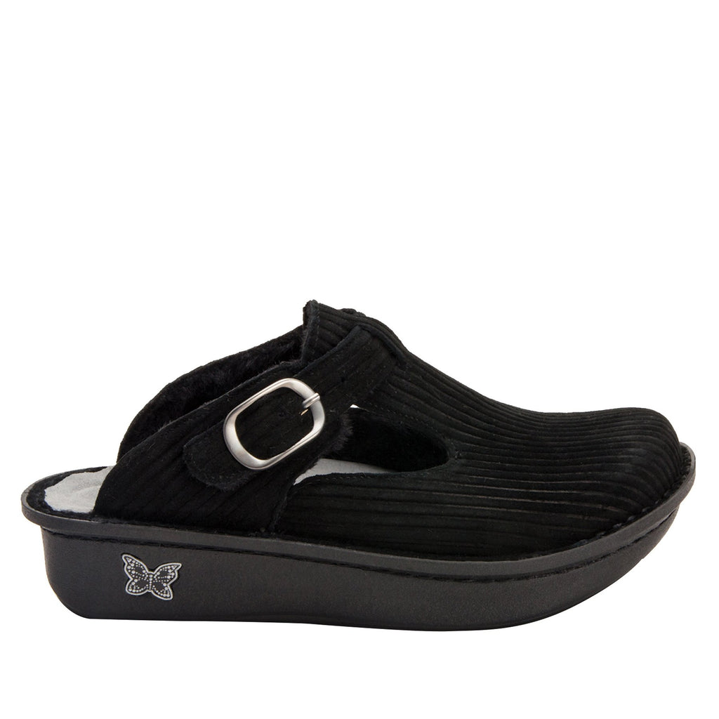Classic Capt Corduroy Black open back clog on classic rocker outsole - ALG-197_S2