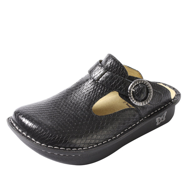Classic Black Burnish Snake Clog - Alegria Shoes
