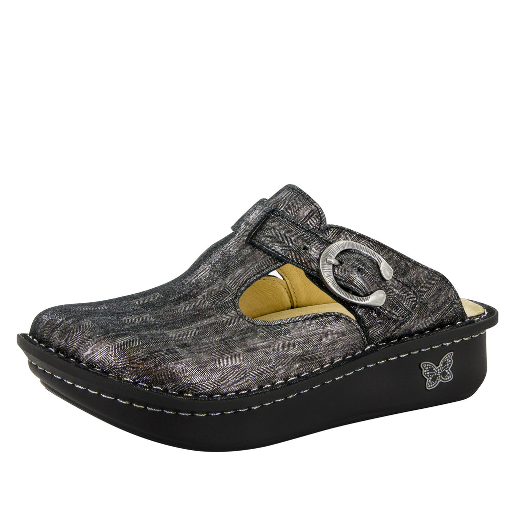 Classic Pewter Thumbprint Clog - Alegria Shoes - 1