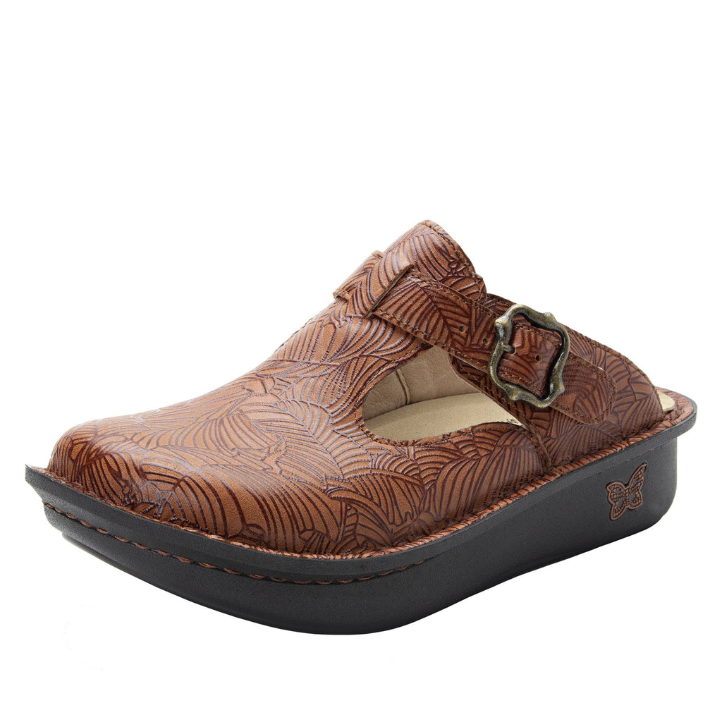 Classic Tobacco Leaf open back clog on classic rocker outsole - ALG-849_S1