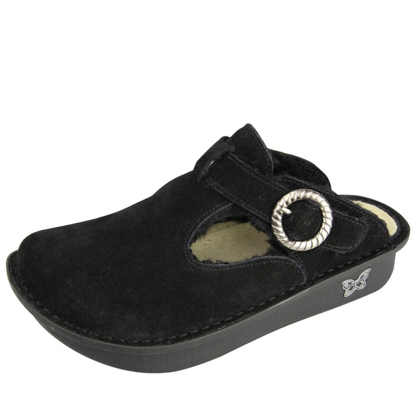 Classic Black Shearling Clog - Alegria Shoes