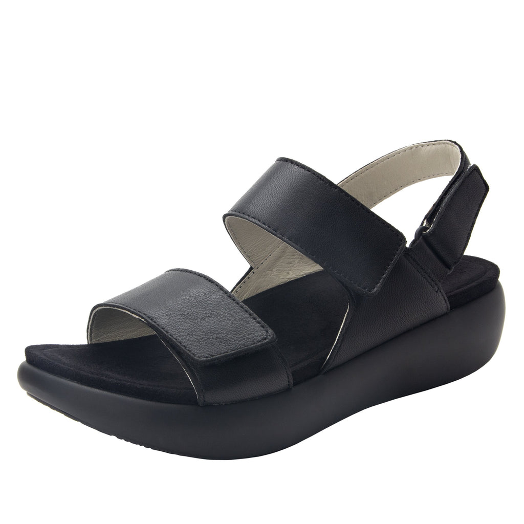Bailee Black ankle strap adjustable sandal with non-flexing sleek rocker bottom with built in arch support  - BAI-601_S1