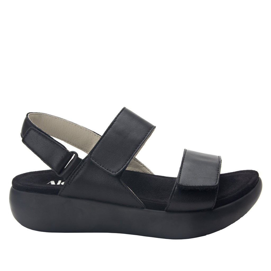 Bailee Black ankle strap adjustable sandal with non-flexing sleek rocker bottom with built in arch support  - BAI-601_S2
