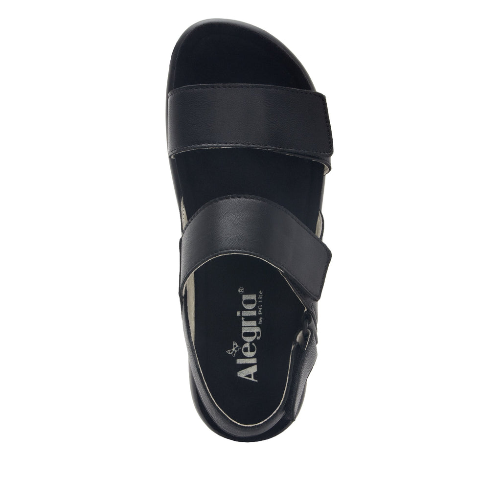 Bailee Black ankle strap adjustable sandal with non-flexing sleek rocker bottom with built in arch support  - BAI-601_S4