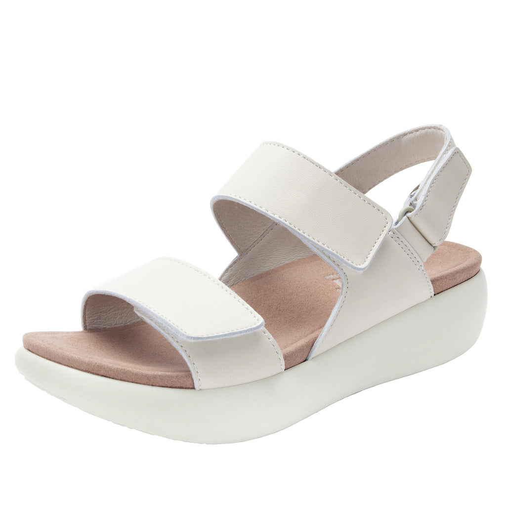 Bailee Ivory ankle strap adjustable sandal with non-flexing sleek rocker bottom with built in arch support  - BAI-609_S1