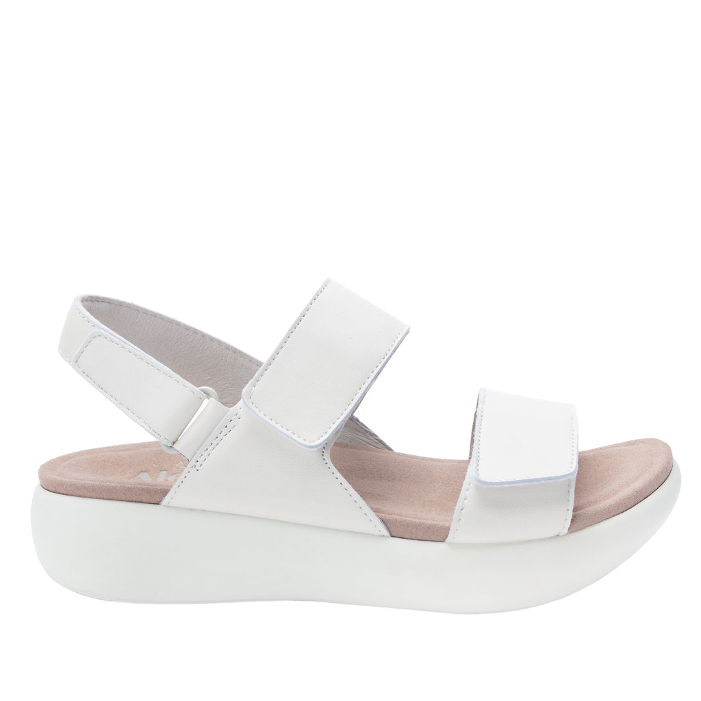 Bailee Ivory ankle strap adjustable sandal with non-flexing sleek rocker bottom with built in arch support  - BAI-609_S2
