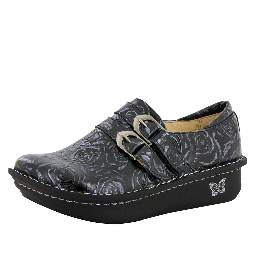 Alli Black and Silver Rose Shoe - Alegria Shoes (6051936513)