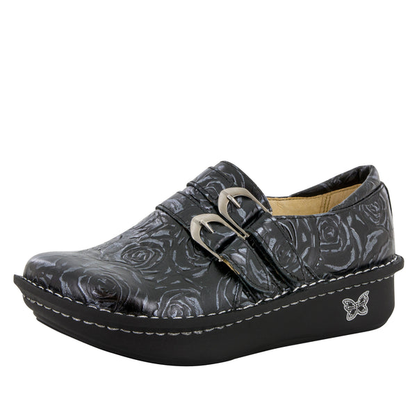Alli Black and Silver Rose Shoe - Alegria Shoes