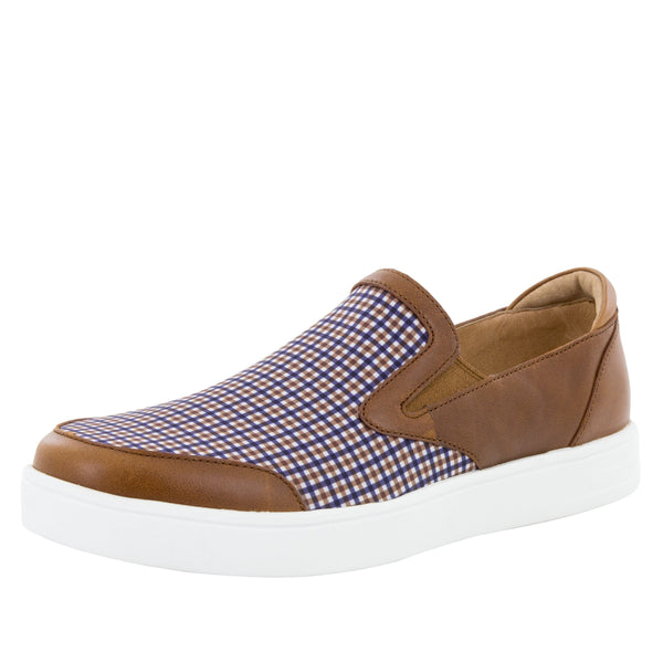 Alegria Men's Bender Tan Plaid Shoe