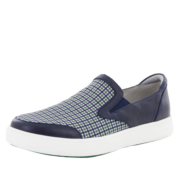 Alegria Men's Bender Navy Plaid Shoe