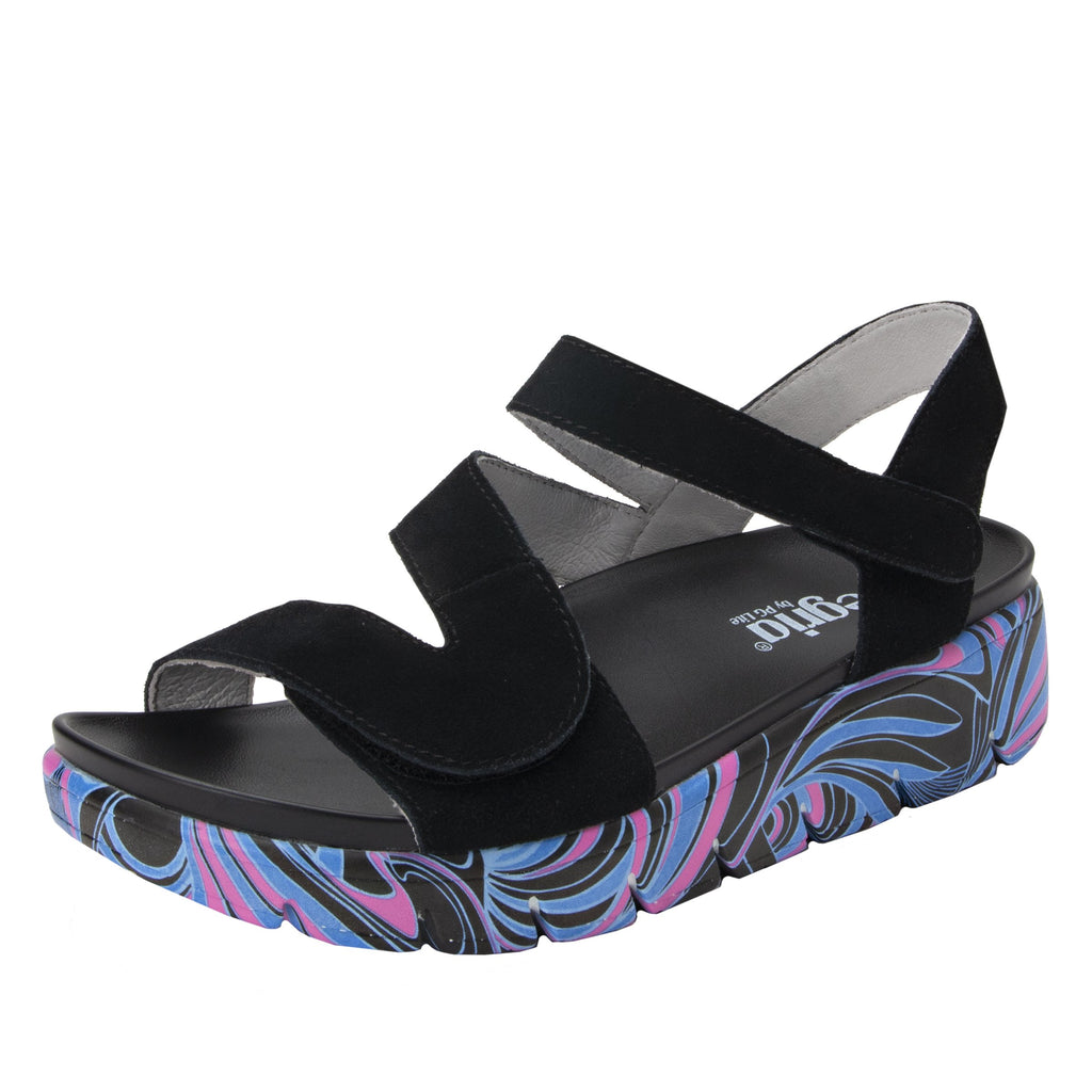 Anah I Got You Babe Black sandal on a printed heritage sport outsole - ANA-170_S1 (1979442692150)