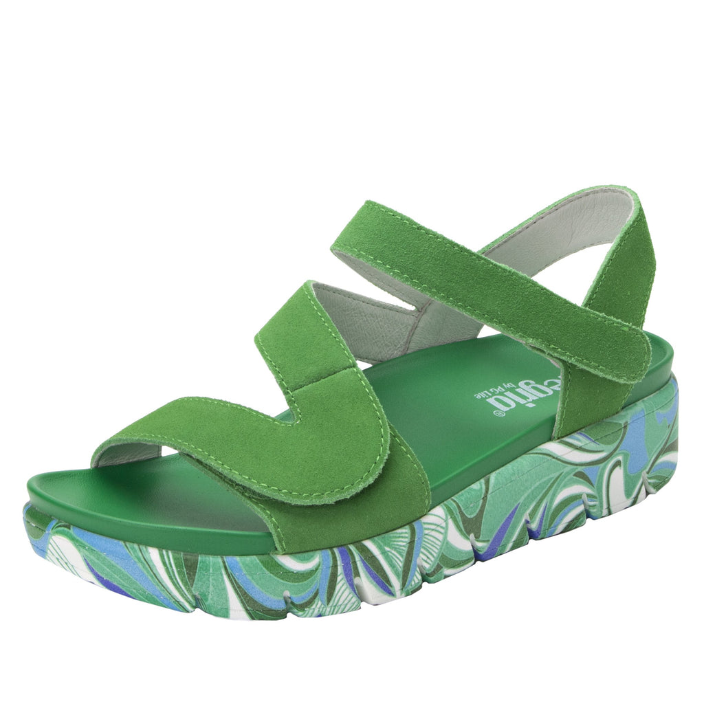 Anah I Got You Babe Green sandal on a printed heritage sport outsole - ANA-171_S1 (1979442757686)