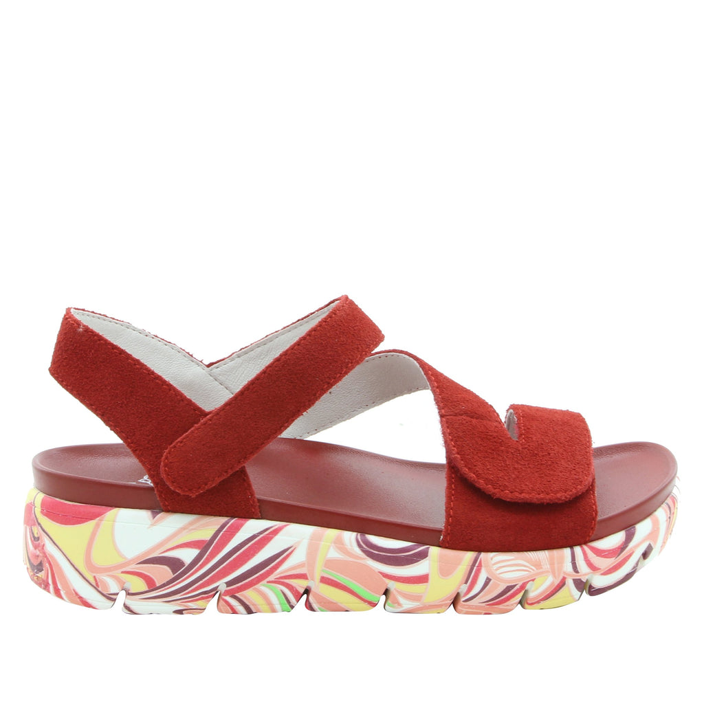 Anah I Got You Babe Red sandal on a printed heritage sport outsole - ANA-172_S2