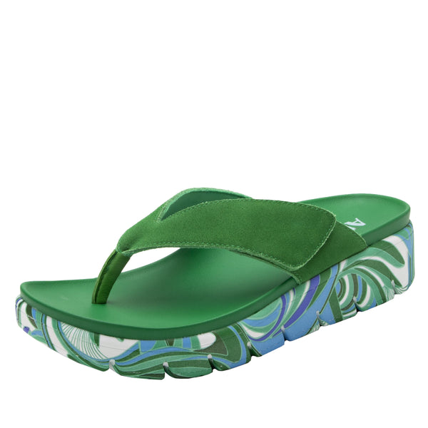 Astara I Got You Babe Green sandal on a printed heritage sport outsole - AST-171_S1