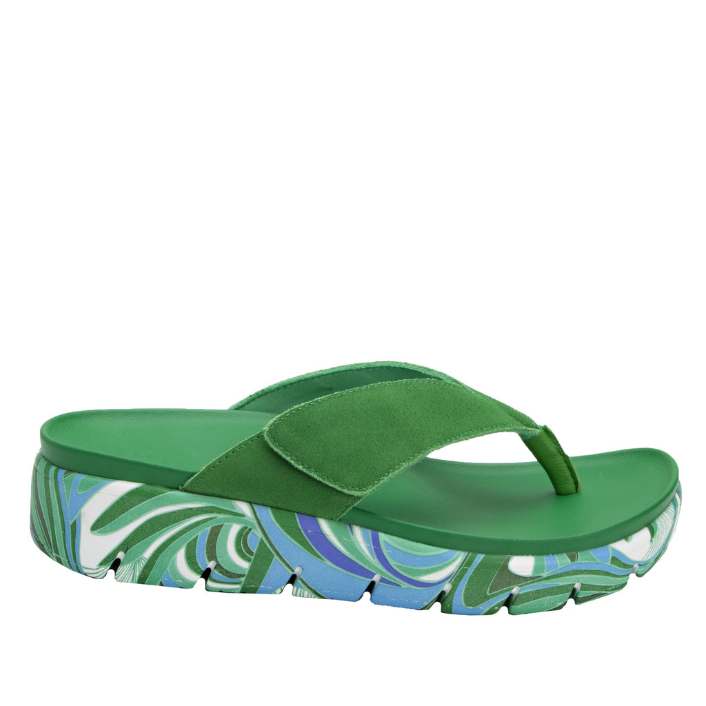 Astara I Got You Babe Green sandal on a printed heritage sport outsole - AST-171_S2