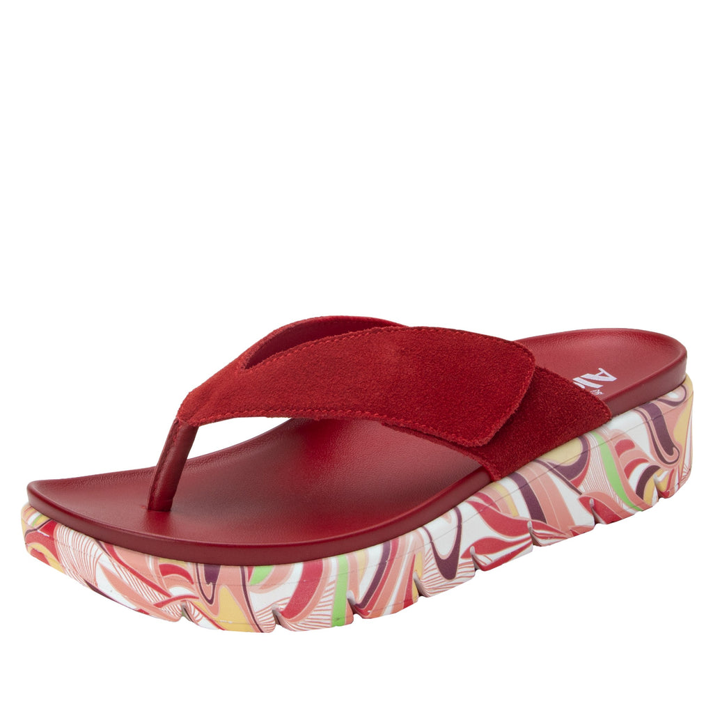 Astara I Got You Babe Red sandal on a printed heritage sport outsole - AST-172_S1 (2005366145078)