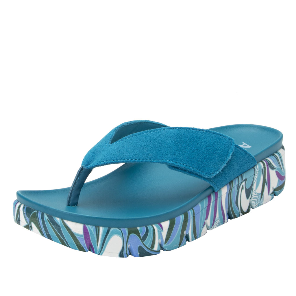 Astara I Got You Babe Teal sandal on a printed heritage sport outsole - AST-173_S1 (2005366439990)