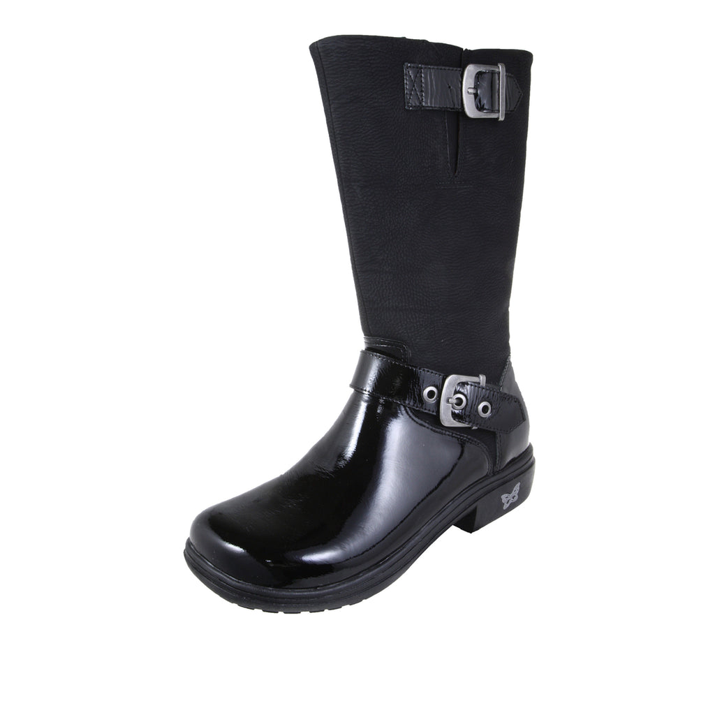 Ava Black Patent Boot - Alegria Shoes