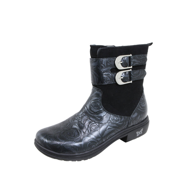 Avril Black and Silver Boot - Alegria Shoes