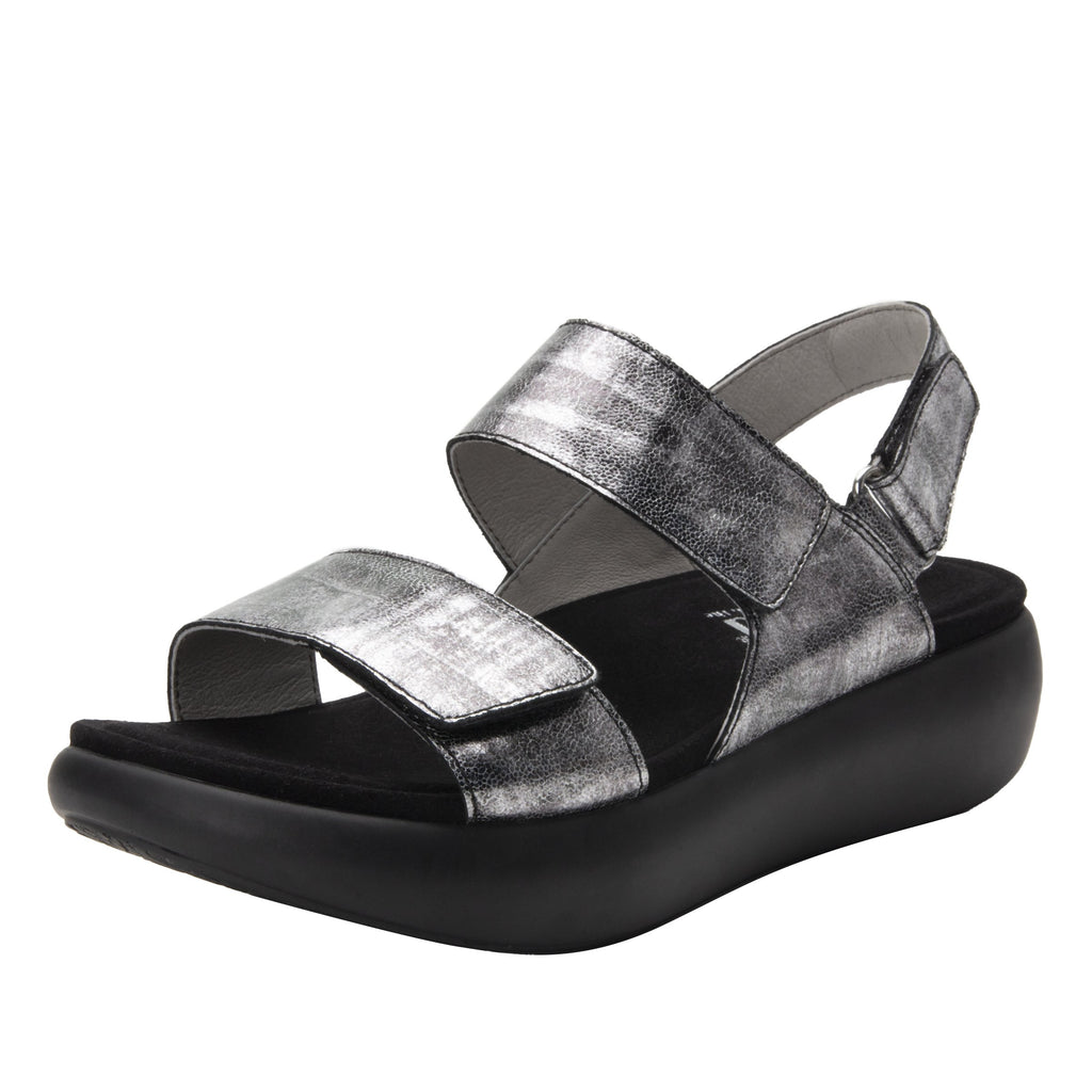 Bailee Pewter Streak ankle strap adjustable sandal with non-flexing sleek rocker bottom with built in arch support  - BAI-7765_S1