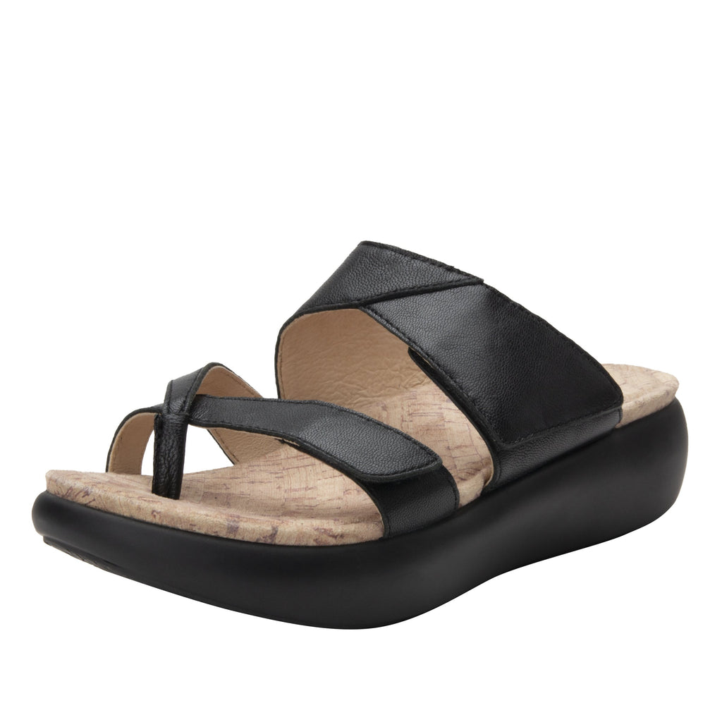 Beatrix Black slip on two strap sandal with thong prong toe post and non-flexing sleek rocker bottom with built in arch support  - BEA-601_S1