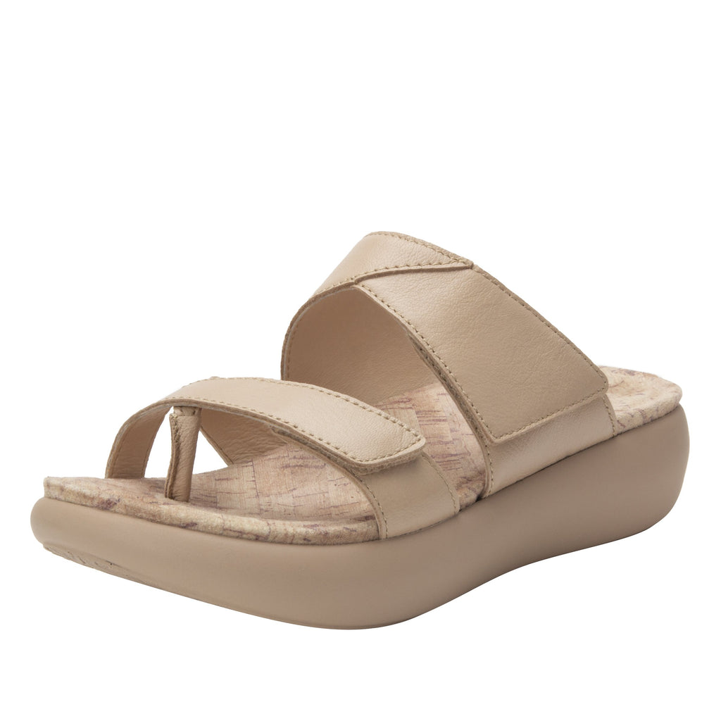 Beatrix Bone slip on two strap sandal with thong prong toe post and non-flexing sleek rocker bottom with built in arch support  - BEA-7731_S1