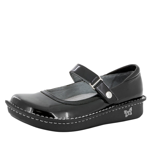 Belle Black Crinkle Shoe - Alegria Shoes - 1