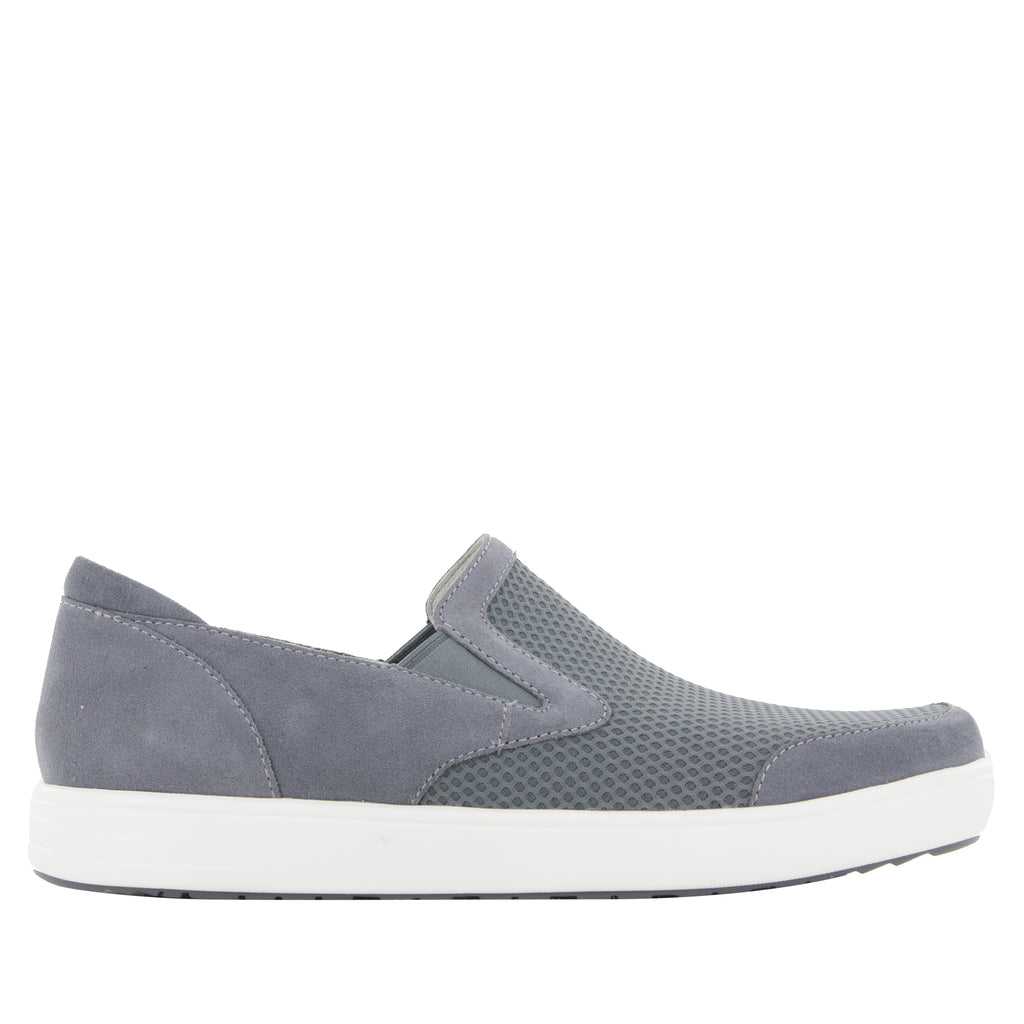 Alegria Men's Bender Grey Suede Shoe