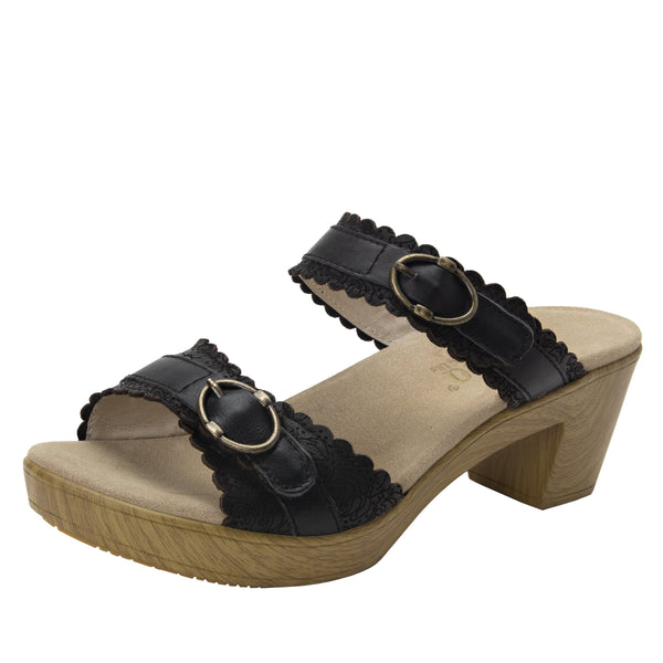 Bobbi Finely double adjustable strap slide sandal on comfort heel outsole- BOB-101_S1