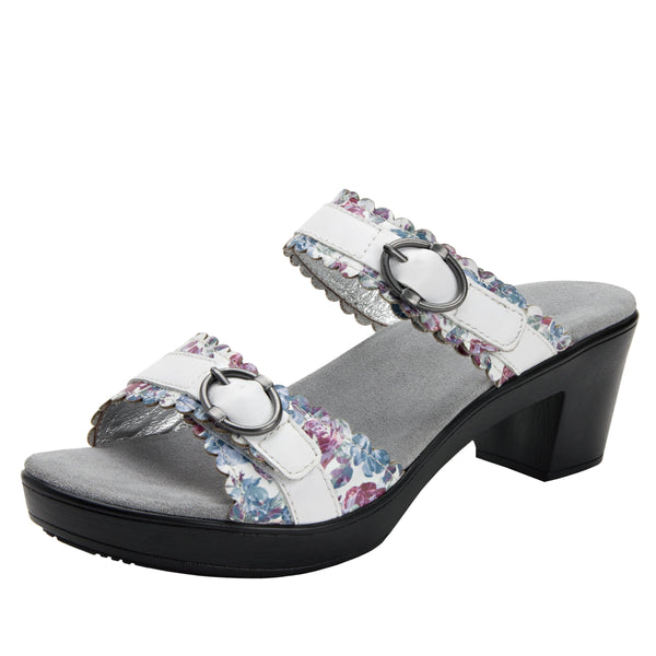 Bobbi Flounce double adjustable strap slide sandal on comfort heel outsole- BOB-109_S1