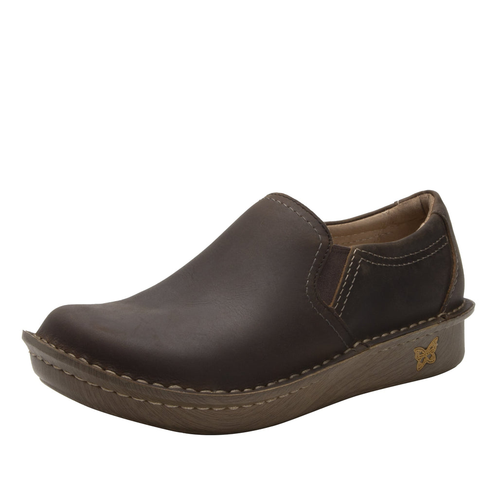 Brook Oiled Brown slip-on shoe on mini outsole, with double elastic gore for ease of wear - BRO-7714_S1