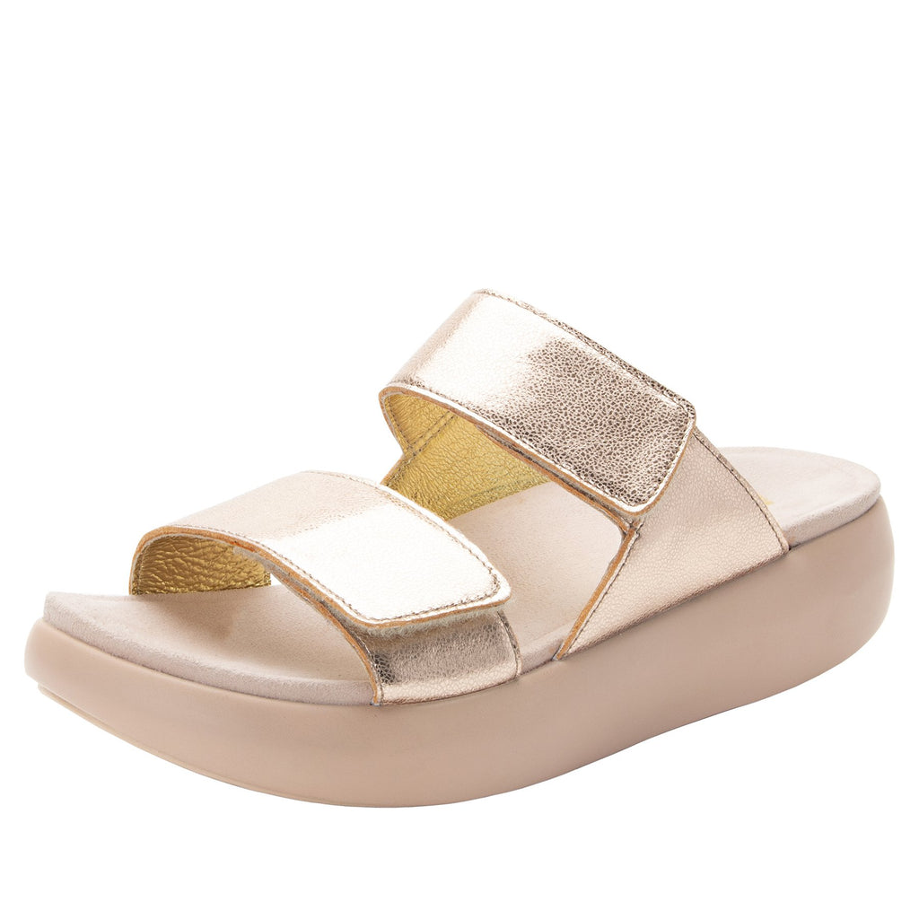 Bryce Rose Gold slip on two strap sandal with non-flexing sleek rocker bottom with built in arch support  - BRY-106_S1