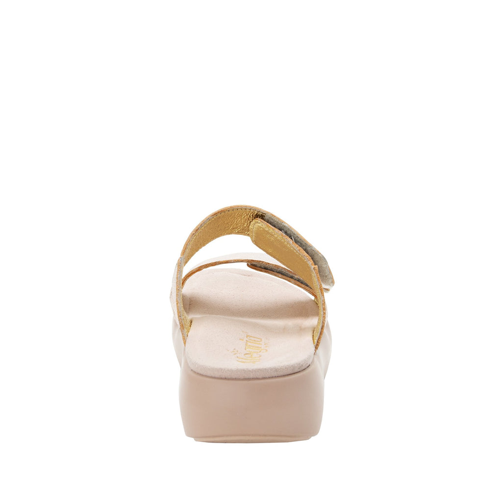 Bryce Rose Gold slip on two strap sandal with non-flexing sleek rocker bottom with built in arch support  - BRY-106_S3