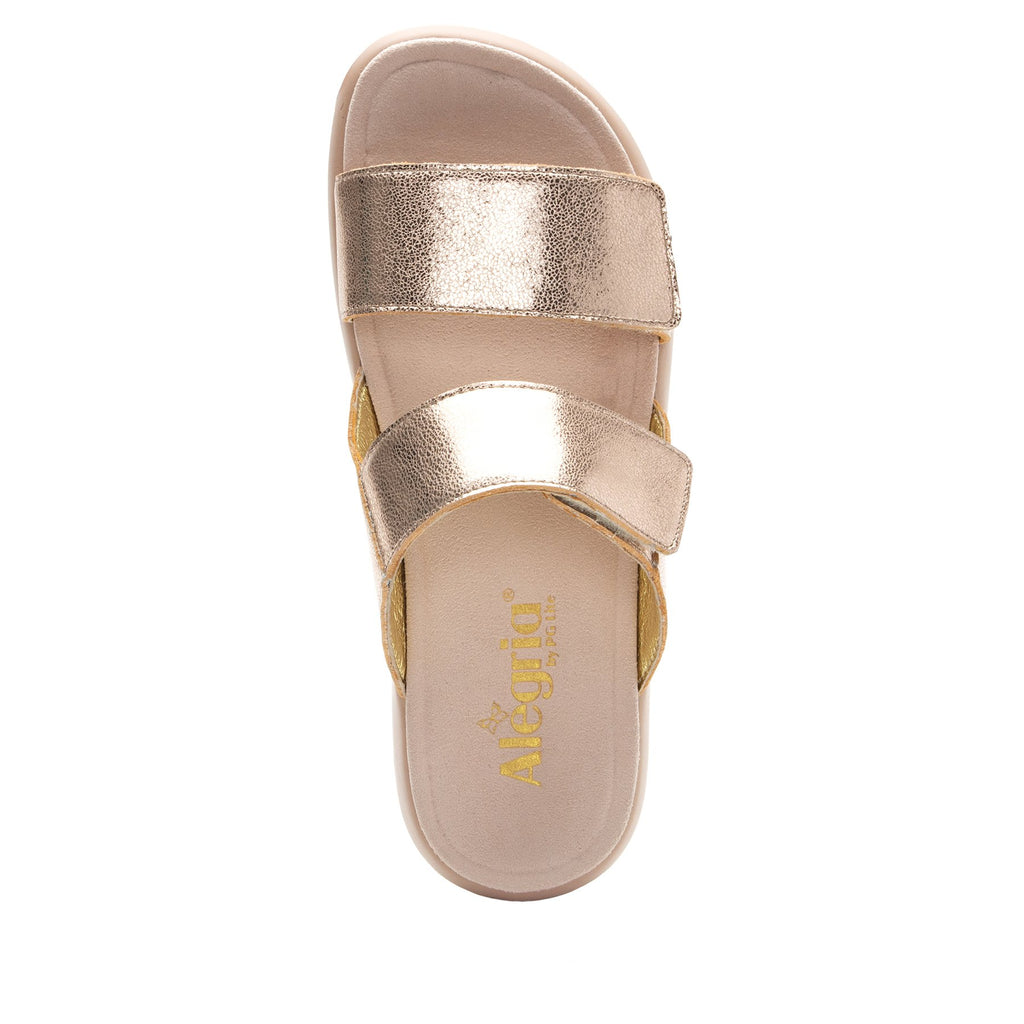 Bryce Rose Gold slip on two strap sandal with non-flexing sleek rocker bottom with built in arch support  - BRY-106_S4