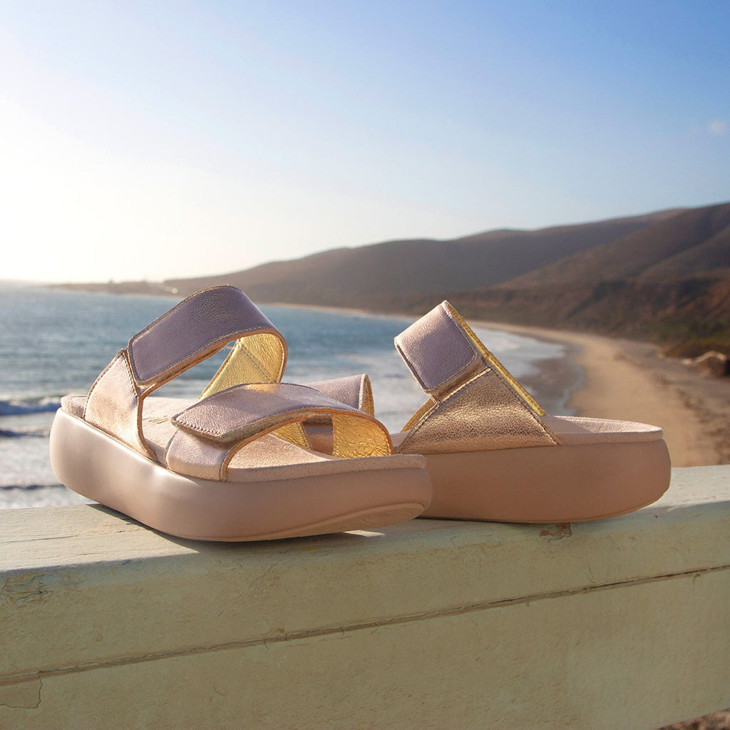 Bryce Rose Gold slip on two strap sandal with non-flexing sleek rocker bottom with built in arch support  - BRY-106_S2