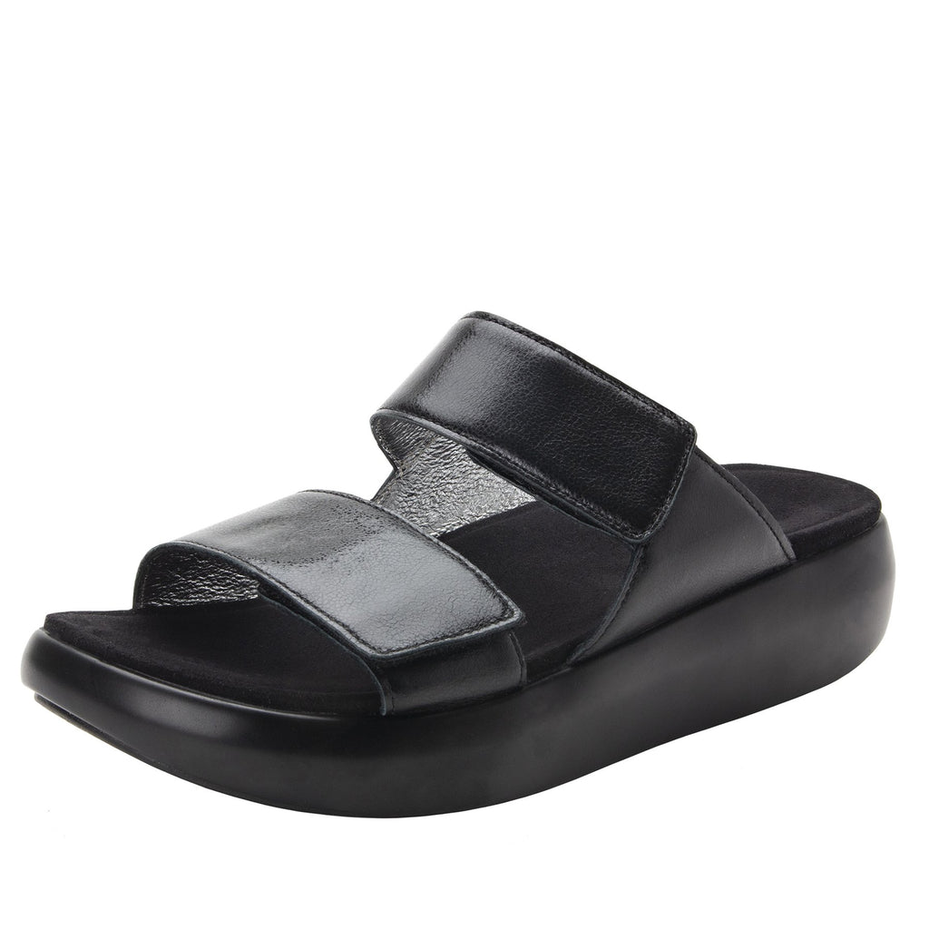 Bryce Black slip on two strap sandal with non-flexing sleek rocker bottom with built in arch support  - BRY-601_S1