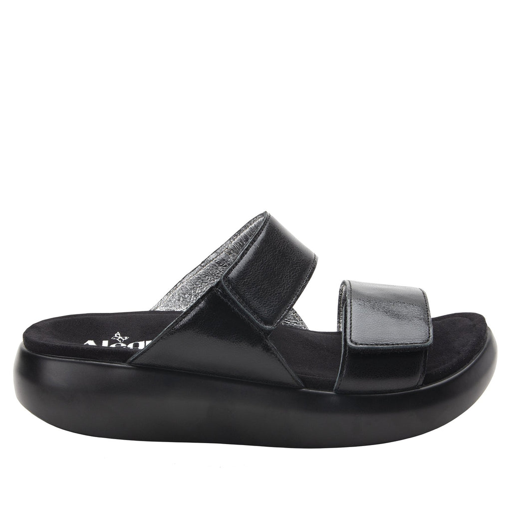 Bryce Black slip on two strap sandal with non-flexing sleek rocker bottom with built in arch support  - BRY-601_S2